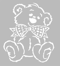 Pochoir Adhésif 22 x 20 cm OURSON & NOEUD Stencil Patterns, Felt Patterns, Stencil Designs, Kirigami, Name Card Design, Book Folding Patterns, Wood Burning Patterns, Letter Stencils, Silhouette Cameo Projects