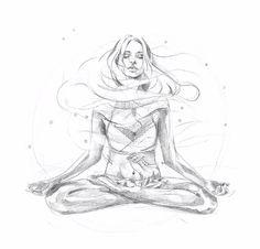 Floating yoga girl