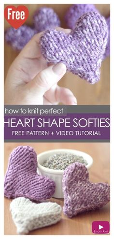 Puffy Heart Softies Free Knitting Pattern and Video Tutorial