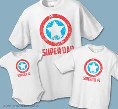 Super Dad and Sidekick Matching Shirts - Father Son Matching Shirts - Sets of 3, 4 or 5 - Father Daughter Shirts - Superhero Birthday Shirts by REVOLUTION46R46 on Etsy