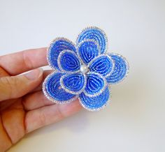 French Beaded Flower hair clip and brooch dual by LaurenHCreations, $24.00