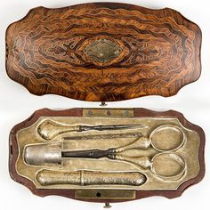 Antique French Napoleon III Marquetry Sewing Box, Vermeil Sterling Silver Tools, Scissors, Thimble etc