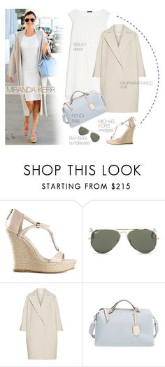 """Celebrity look: Miranda Kerr"" by monmondefou ❤ liked on Polyvore featuring KORS Michael Kors, Ray-Ban, KaufmanFranco and Fendi"