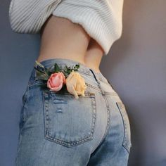 flowers, jeans, and tumblr image