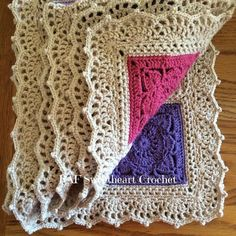 Transcendent Crochet a Solid Granny Square Ideas. Inconceivable Crochet a Solid Granny Square Ideas. Crochet Afghans, Crochet Blanket Border, Crochet Boarders, Crochet Pillow Patterns Free, Crochet Edging Patterns, Crochet Squares, Crochet Motif, Crochet Stitches, Knit Crochet