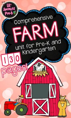 Comprehensive farm unit for PreK, Kindergarten and Preschool.  I'm so excited about this farm unit!!! It's packed with math and literacy printables and activities!  This comprehensive unit includes 130 pages of materials!