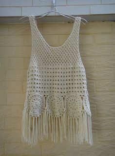 Cute crochet vest with fringe Perfect to creat a hippie boho chic look or as beach cover up with your favorite crochet bikini set Measurement: Bust: Length: 16 and tassels front part 20 and 25 with tassels back part Crocheted in easy care acry Gilet Crochet, Crochet Vest Pattern, Crochet Fringe, Cute Crochet, Beautiful Crochet, Crochet Patterns, Crochet Vests, Crochet Braids, Crochet Ideas