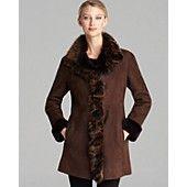 Maximilian Lamb Shearling Ruffle Trim Coat...looks effing warm!