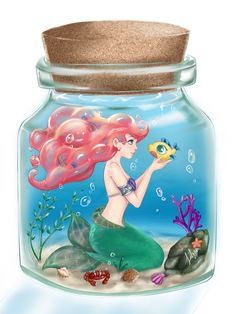 Ariel and Flounder in a corked jar, illustration, Disney's The Little Mermaid