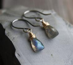 Labradorite Earrings Sterling Silver 14K by PrairieSmokeJewelry, $33.00