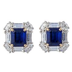 Emerald Cut Sapphire and Diamond Earrings