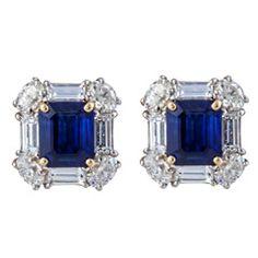 Emerald Cut Sapphire and Diamond Earrings