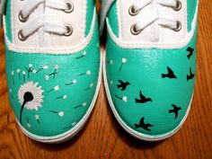 Hand Painted Dandelion into Birds Canvas Shoes by CraftsbyJayy, $45.00