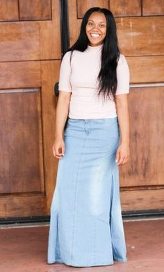 Light Mermaid Denim Skirt