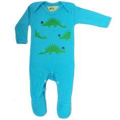 100% cotton retro blue funky babygrow with a green dinosaur design