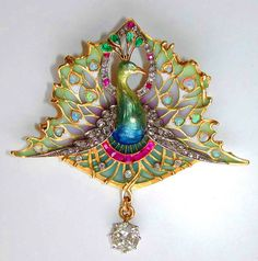 Art Nouveau enamel and gem  peacock brooch, circa 1890. (probably by Lucien Gautrait.)