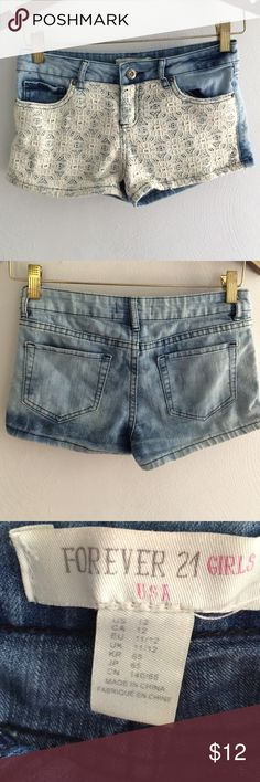 Forever 21 Girl's lace front faded denim shorts Forever 21 Girl's lace front faded denim shorts Forever 21 Shorts Jean Shorts