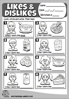 Likes & dislikes - worksheet 5 English Teaching Materials, English Teaching Resources, Learning English For Kids, Kids English, School Resources, Learn English, Teaching Activities, Preschool Learning, Preschool Worksheets