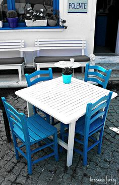 bozcaada turkey---polente Outdoor Tables, Outdoor Decor, Box Design, Dream Vacations, Interior Architecture, Outdoor Furniture Sets, Scenery, Sweet Home, Windows