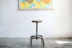 SOLD - Vintage Industrial Stool, Adjustable, c. Industrial Stool, Industrial Furniture, Vintage Industrial, Vintage Furniture, Furniture Inspiration, Bar Stools, 1940s, Etsy, Design