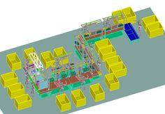 layout linea di montaggio pompe da giardino
