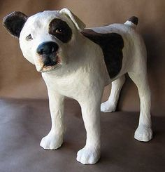 Bulldog Sculpture is Finished – Ultimate Paper Mache Paper Mache Crafts For Kids, Paper Mache Projects, Paper Mache Clay, Paper Mache Sculpture, Dog Sculpture, Plate Crafts, Art Projects, Ceramic Animals, Clay Animals