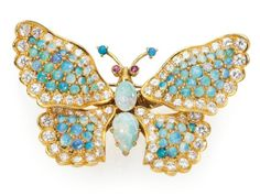 An Opal, Diamond and Ruby Butterfly Brooch