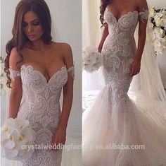 Vestidos De Novia Bridal Gown Fish Tail 2016 Pearls Beaded Lace Appliques Sexy Mermaid Wedding Dress CWFw2236