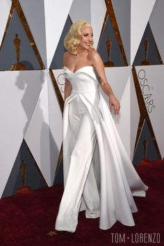 Lady Gaga, in a Brandon Maxwell creation, at the 88th Annual Academy Awards in Hollywood, CA.