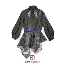 Wool plaid and lurex jacquard blended peplum shirt. ED AW/17-18  Erkan Demiroğlu