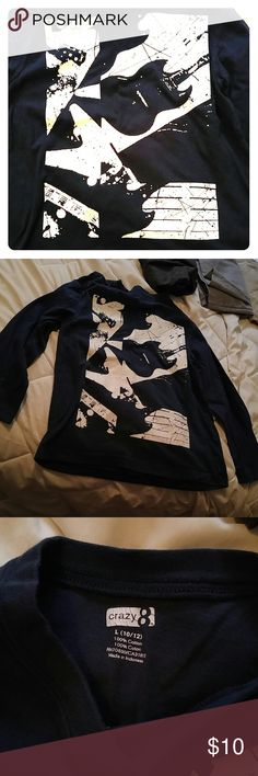 Junior kids shirt Pic on the front navy blue gvery good condition size large 10-12 Tops Tees - Long Sleeve