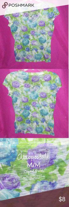 Aeropostale Shirt Floral Womens Size Medium Aeropostale Short Sleeved V Neck Shirt Aeropostale Tops Tees - Short Sleeve