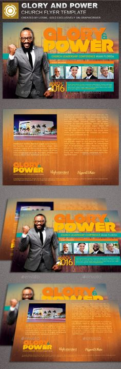 Glory and Power Church Flyer Template — Photoshop PSD #revivals #church template • Available here → https://graphicriver.net/item/glory-and-power-church-flyer-template/15403514?ref=pxcr