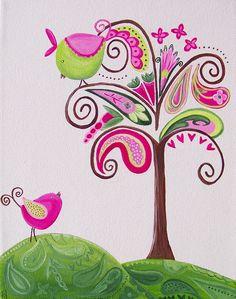 vintage birds in a paisley tree