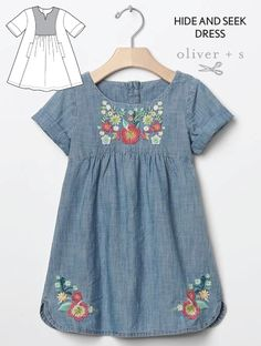Darling Details♡~ floral embroidery on dress pattern from Oliver + S Hide-and-Seek Dress Embroidery Fashion, Embroidery Dress, Embroidery Patterns, Floral Embroidery, Toddler Dress, Baby Dress, Dress Girl, Toddler Girls, Baby Girls