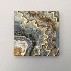 """Mini 6""""x6"""" geode resin fluid art with genuine citrine & pyrite. Hang this in your home or at work for positive energy & creative and courageous vibes. • 6 inch x 6 inch multi-layer mixed media on wood panel, including citrine points & pyrite, acrylic high flow paint, ink, gold leaf,"""