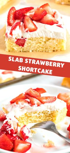 Slab Strawberry Shortcake - Instead of making individual shortcakes, make a slab cake big enough to feed a crowd topped with whipped cream and strawberries. Easy No Bake Desserts, Best Dessert Recipes, Desert Recipes, Easy Desserts, Delicious Desserts, Sweet Desserts, Recipes Dinner, Cupcake Recipes, Sweet Recipes