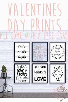Valentines Day instant download printables, free Valentines day card! Love quote and romantic themed modern home decor prints. Perfect for master bedroom decor.