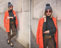 Beanie, Sheinside Orange Coat, H&M Leopard Jenas, Moschino Belt, Marc By Marc Jacobs Flats, Rebecca Minkoff Bag, Italia Indepedent Sunnies