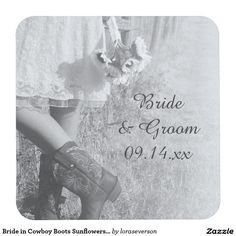 Bride in Cowboy Boots Sunflowers Country Wedding Square Paper Coaster