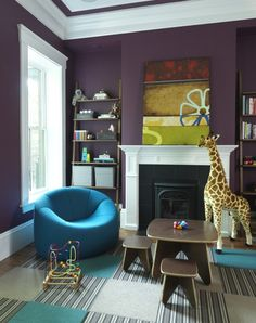Rachel Reider Interiors purple & turquoise blue boy's playroom design with bold purple walls paint color, fireplace, leaning ladder bookshelves, turquoise blue chair and white & blue striped FLOR tiles. Dark Purple Walls, Purple Rooms, Plum Walls, Deep Purple, Dark Walls, Purple Teal, White Rooms, Color Blue, Yellow