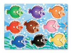 This wooden puzzle features a fun fish-themed design that helps little learners understand colors. Includes nine puzzle W x HWood / plastic / paperRecommended for ages 2 years and upImported Wooden Pegs, Wooden Puzzles, 2nd Birthday Gifts, Puzzles For Toddlers, Wood Fish, Teaching Colors, Little Red Hen, Melissa & Doug, Games