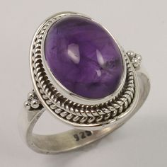 925 Sterling Silver Tribal Jewellery Ring Size US 6.75 Natural AMETHYST Gemstone #Unbranded