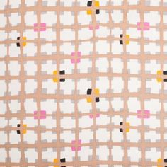 Cream and Brown Geometric Squares Stretch Cotton Woven
