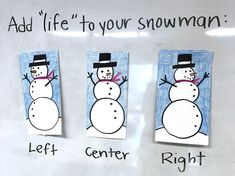 Easy Snowman Drawing. Add dimension to your drawing. #snowman #drawing
