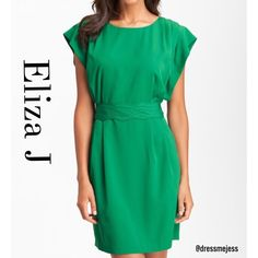 ⭐️SALE⭐️Emerald Green Eliza J Dress Beautiful Eliza J drape sleeve sash belt dress in emerald green. I wore this once for a wedding and just got it dry cleaned so it is in perfect condition! It is a size 2, the smallest size in this dress, and I would say it runs a bit big, so it could definitely fit a size 4. Eliza J Dresses