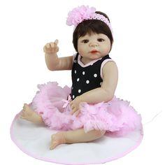 86.87$  Buy now - http://alid03.worldwells.pw/go.php?t=32780046101 - Full Vinyl Doll Reborn 23 Inch Realistic Girl Babies Hair Wig Lifelike Kids Toy Soft Alive Baby Dolls Kids Birthday Xmas Gift