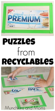 Make simple preschool and toddler puzzles out of recyclables!
