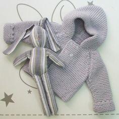 Abriguito con capucha lana gris   Ropa bebé   Abrigos y jerseys
