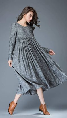 Casual Gray Dress - Comfortable Linen Loose-Fitting Long Sleeved Everday Marl Grey Midi-Length Woman's Dress Occasionnel robe gris lin confortable ample robe à Linen Dresses, Women's Dresses, Cotton Dresses, Casual Dresses, Fashion Dresses, Cotton Long Dress, Dress Outfits, Dress Plus Size, Oversized Dress